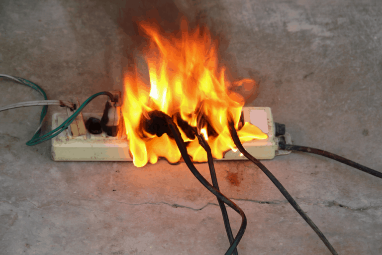 electrical fire at surge protector