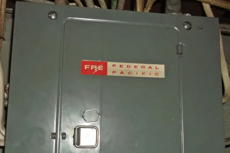 federal pacific electric logo on electrical panel