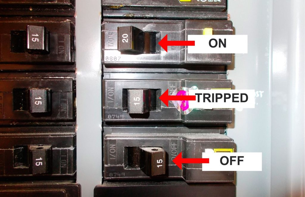 different breaker switch positions on off tripped