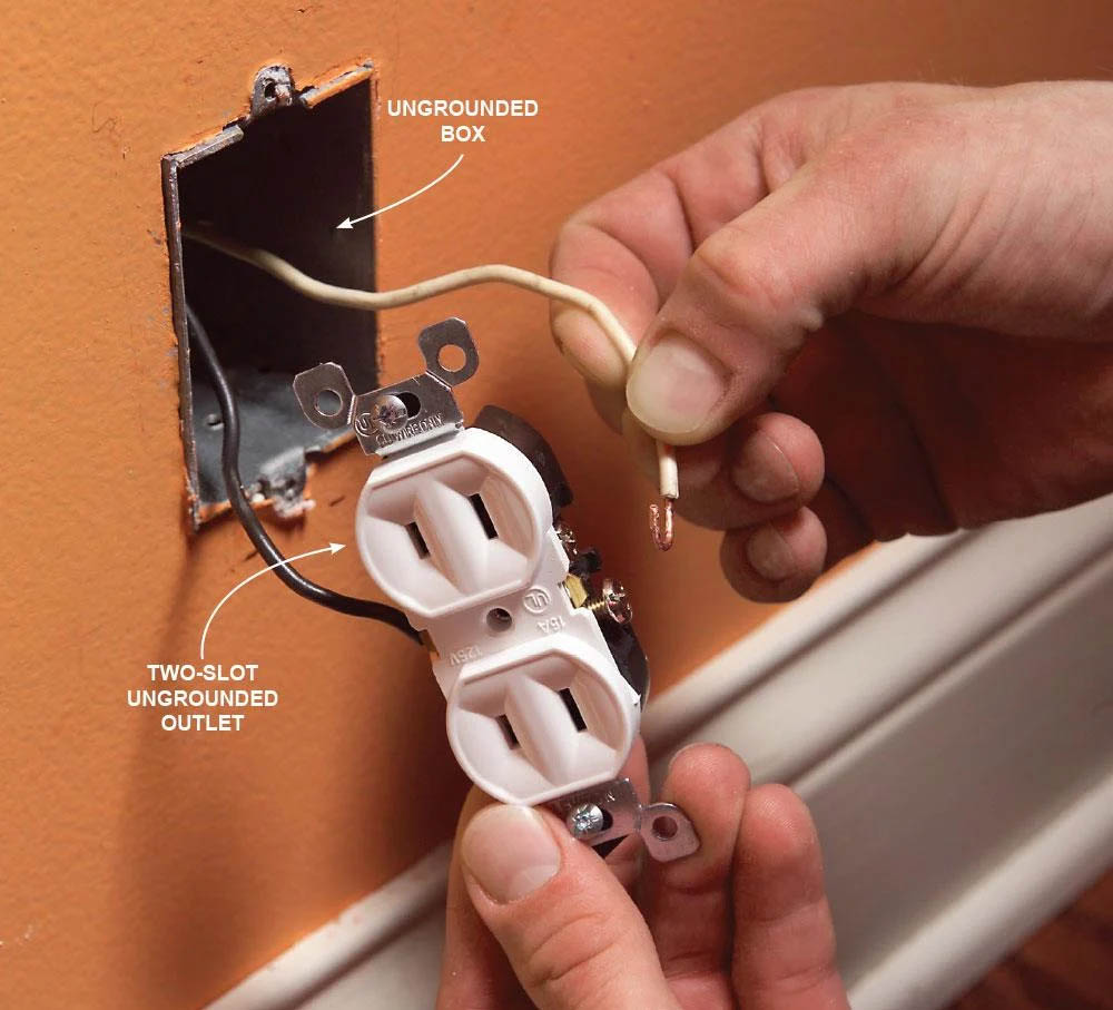 electrical outlet without a ground wire